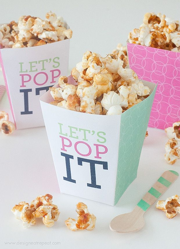 """FREE printable """"Let's Pop it!"""" Popcorn Boxes 