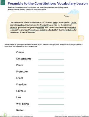 Free constitution worksheets 5th grade