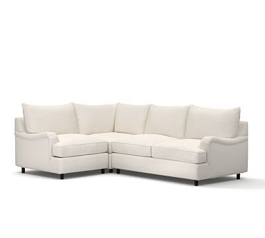 PB Comfort English Arm Upholstered Right Arm 3-Piece Corner Sectional , Knife Edge Down Blend Wrapped Cushions, Brushed Canvas Natural