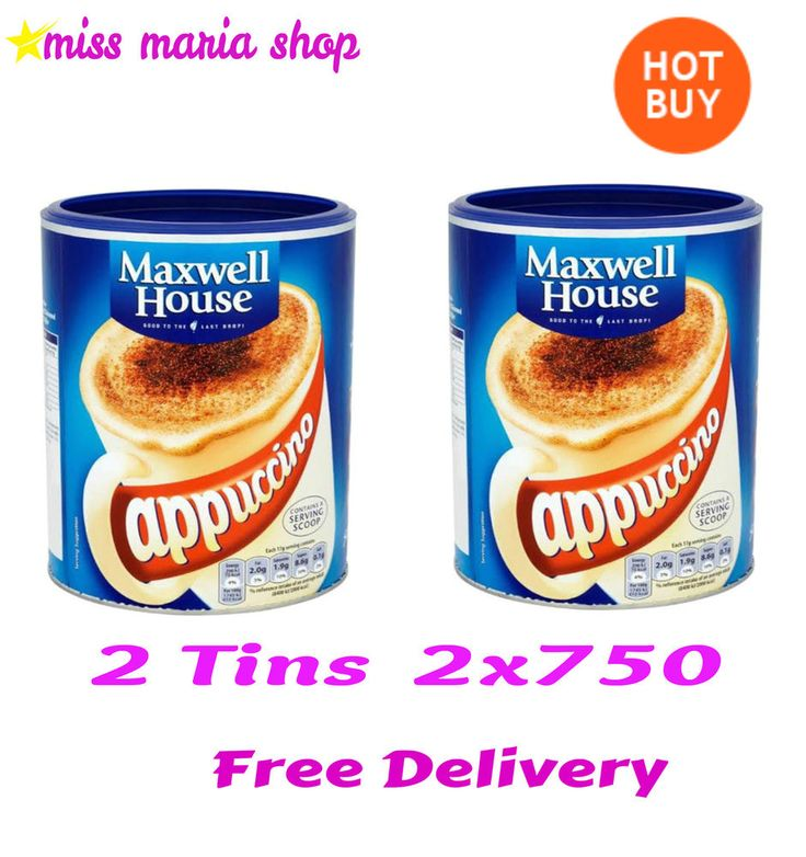 Instant Cappuccino Tins 2x750 Coffee Drink Bulk Buy 88 Servings Maxwell House