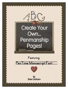 Create Your Own Penmanship Pages - PenTime Manuscript Font - Sheri Graham