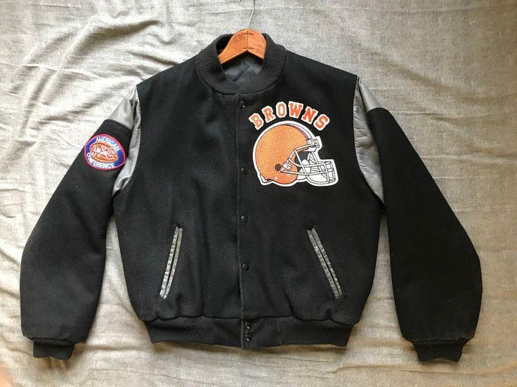 Men's vintage Delong NFL Cleveland Browns wool varsity letterman jacket size S