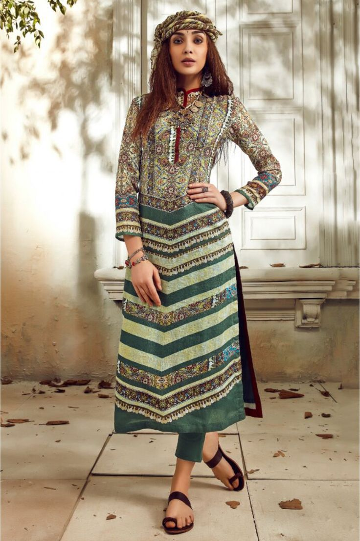 Green and Cream Colour Linen Fabric Party Wear Unstitched Pakistani Suit Comes With Matching Bottom and Dupatta Fabric. This Suit Is Crafted With Digital Prints. This Suit Comes As a Unstitched Which ...