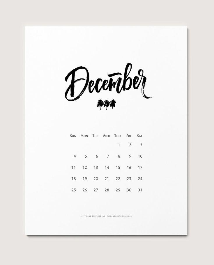 Freeprintable calendar for December 2016. For personal use only |©typeandgraphicslab.com