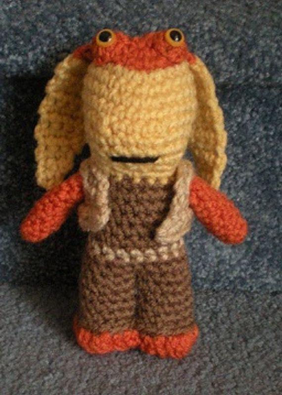 PDF File Crochet Pattern Hand crocheted Star Wars Jar Jar Binks Amigurumi Doll