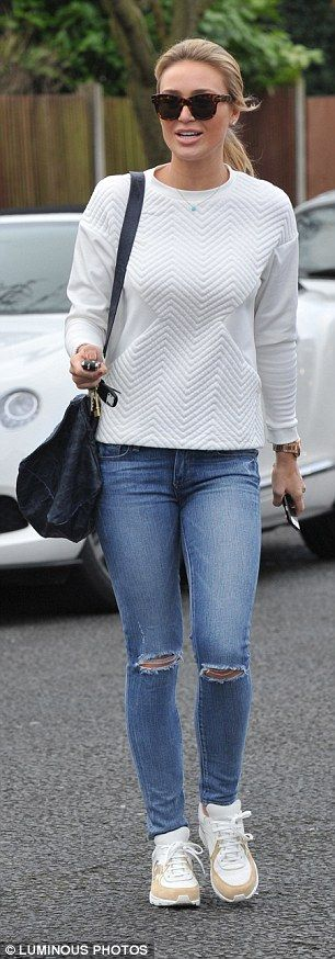 Alex Gerrard dresses down in ripped skinny jeans #dailymail