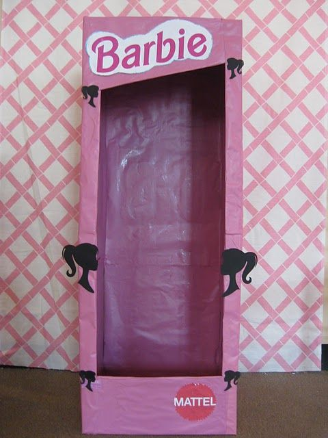 Life size Barbie box.  Photo booth for little girl birthday party!  Fun!