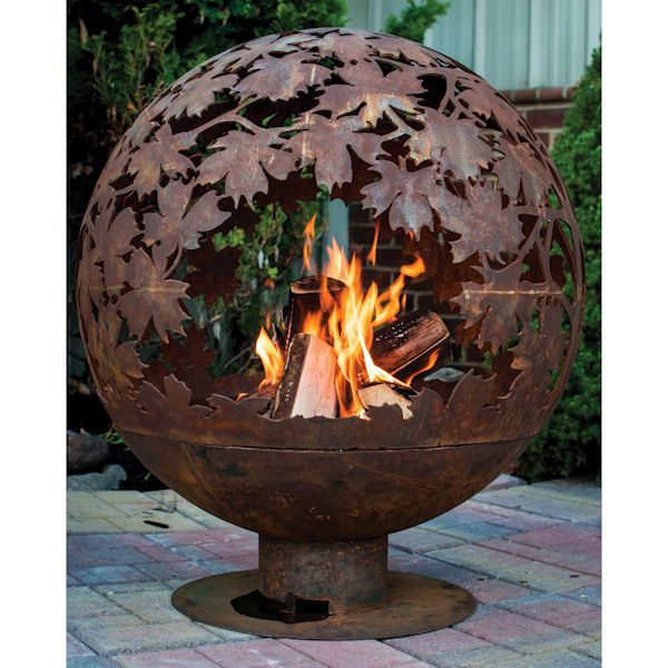 Autumn Leaves Fire Globe Fire Pit Globe Fire Bowls Outdoor Fire Pit