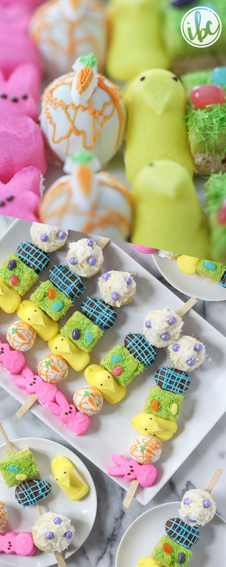Easter Dessert Kabobs - spring dessert Easter recipe idea with marshmallow peeps, carrot cake, cupcakes and more! via Inspired by Charm