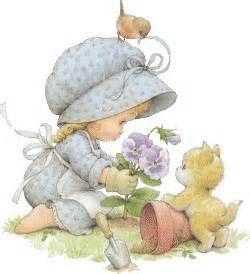 Ruth Morehead Girl Gardening with Kitty