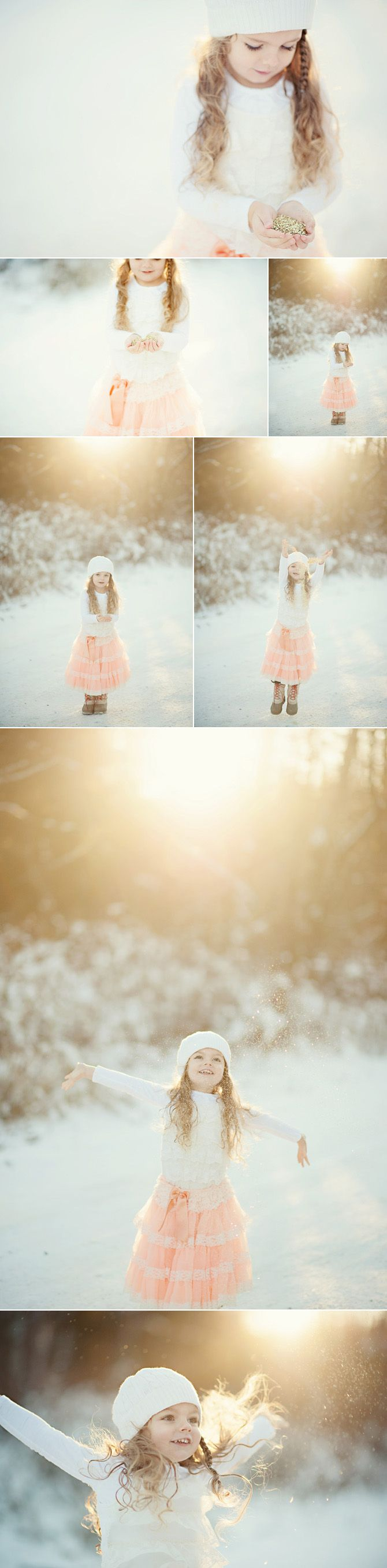 ***i would love a photo shoot like this for us! So pretty***glitter girl, little girl in the snow with glitter, gold glitter, gold glitter photos, photo shoot with glitter, snow glitter girl. letters to maisie, letters to my daughter