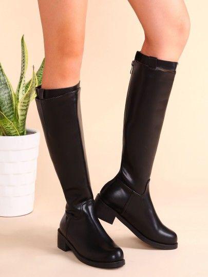 Knie Stiefel 2017 mit Reißverschluss Schnallen PU Schwarz