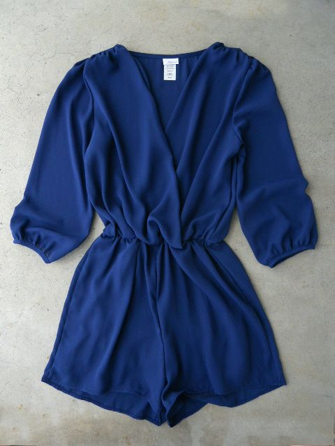 Navy Coronado Long Sleeve Romper