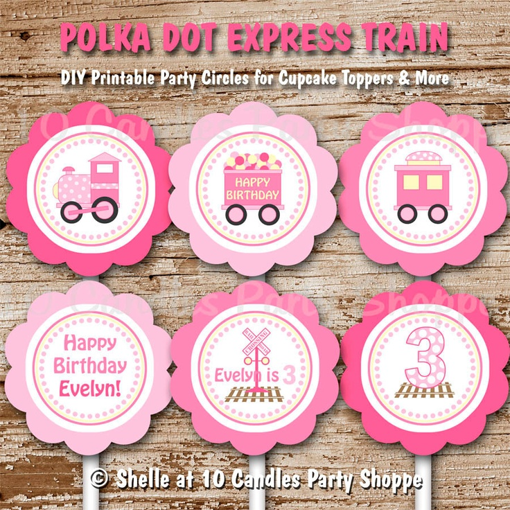 Train Cupcake Toppers : polka dot, party circles, pink, girl. birthday, baby shower, diy printable