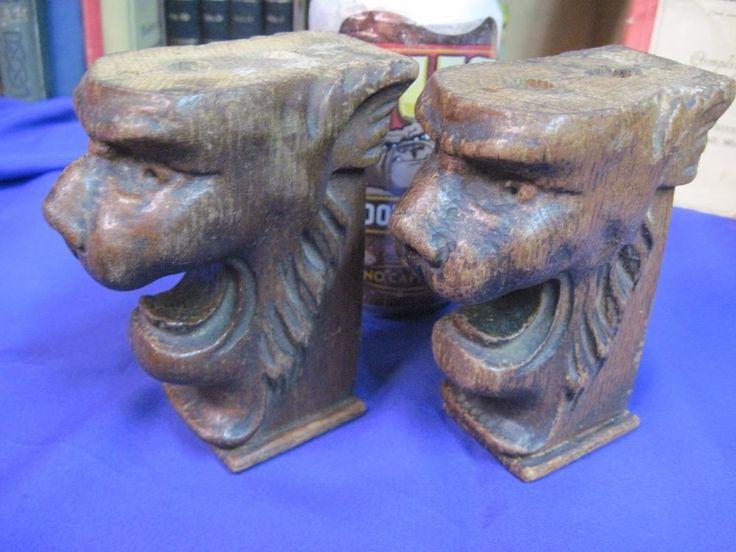 ANTIQUE HAND CARVED OAK WOOD TRIM LION HEAD SALVAGE FIGUREAL SCULPTURE  | eBay