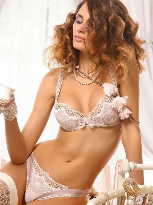 #Sexy Lace #Lingerie Set - Pretty Demi Cup Bra & Thong Undies