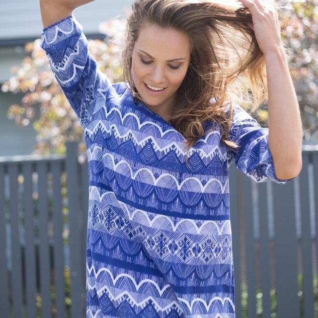 Our blue printed Iris 34 Sleeve Dress is the perfecthellip