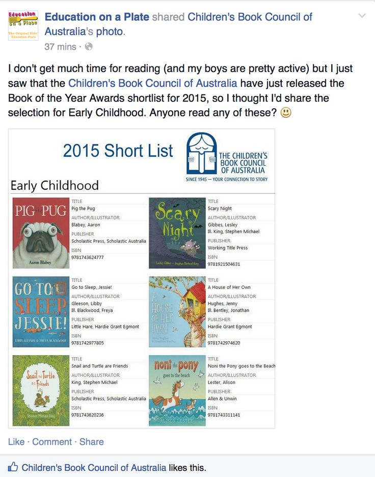 We're chatting about the Children's Book Council of Australia 2015 Book of the Year awards on Facebook. Come join us! https://www.facebook.com/educationonaplate/