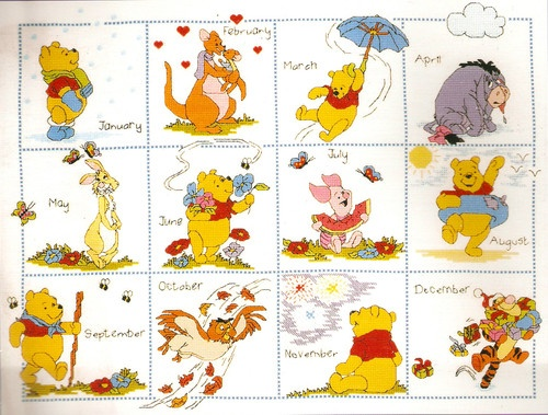 "Janlynn Disney Winnie the ""Pooh & Friends Calendar"" Counted Cross Stitch Kit"