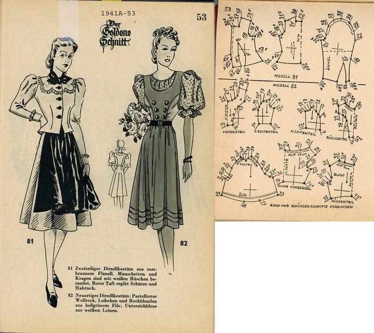1940s (1941) German Women's Dress Lutterloh 1941A-53