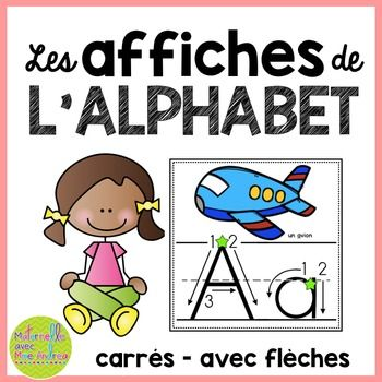 Affiches d'alphabet - carrés avec flèches (FRENCH Alphabet posters - squares with arrows to show students how to properly form each letter)