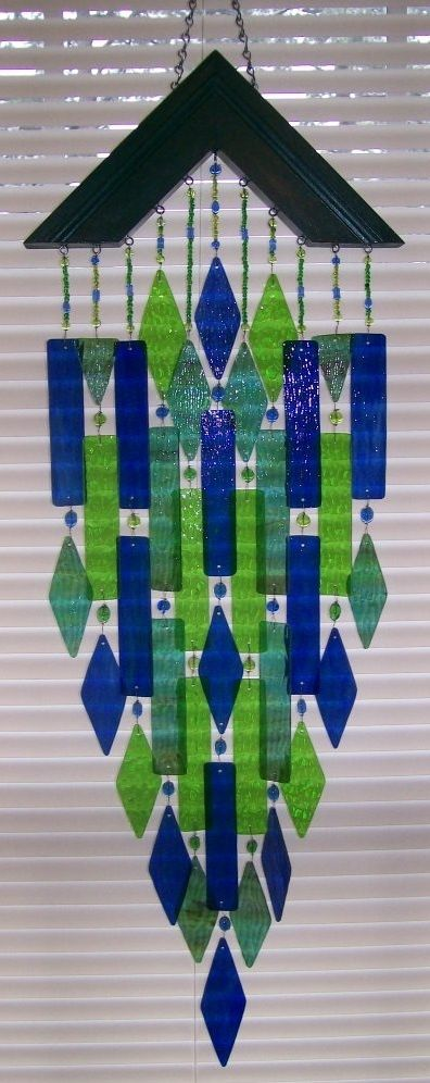 Stained Glass Art Wind Chimes  greens and blues, nice shape
