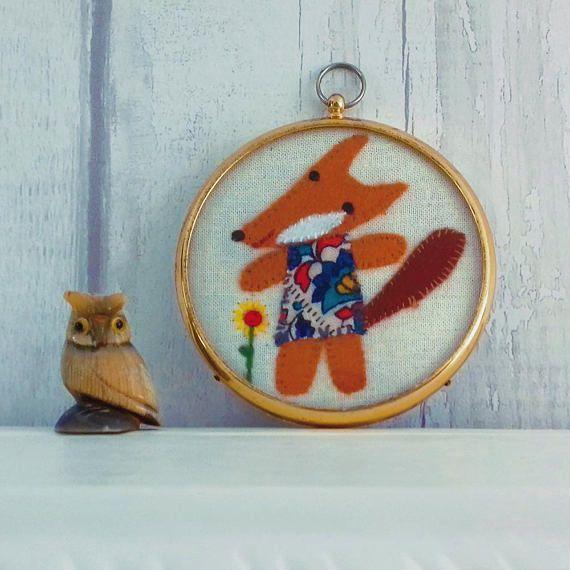 Flossie the Fox  Cute Felt Fox in a Vintage Frame