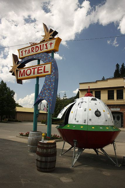 Stardust Motel ~ Space Age Neon Sign w/Flying Saucer. Wallace, Idaho