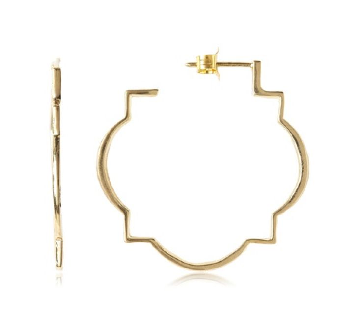 Suz Somersall Marrakech Hoops - perfect for a day at the office or a night on the town. Inspired by Moorish architecture, these hoops are timeless with a modern twist. Crafted to catch the light, they evoke the arabesque lines of a Moroccan lantern. Versatile and unique these hoops will bring radiance to your look, day or night. Suz Somersall designs for the woman who looks for classic sophistication with chic details. These hoops are lightweight, eye-catching, and are sure to make any…