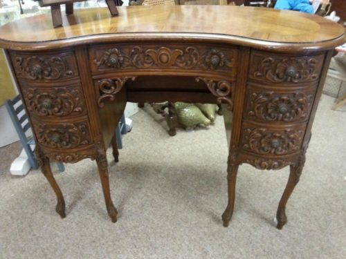 Rare Antique Carved Kidney Shaped Writing Desk This is a rare find and a  Designer's Dream - Antique Kidney Desk Antique Furniture