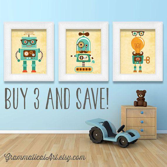 Adorable Robot Nursery Science Robot Poster Boy by GrammaticalArt