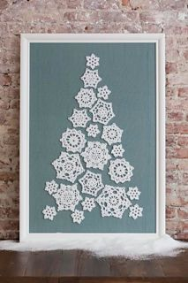 This impressive snowflake tree is made with worsted weight yarn, so it is easier than it looks. Seven snowflake doily designs are given for making the complete 22-snowflake tree. We suggest mounting your snowflakes as shown, so you can enjoy them all winter long!