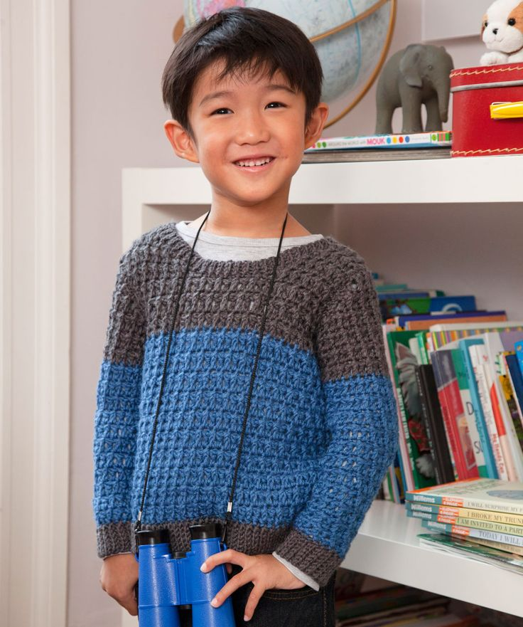 Crochet a two-toned jumper for the boy in your life, and he'll be searching for it wherever he goes! Wool-blend yarn is warm and washable, so it will be everyone's go-to pullover.