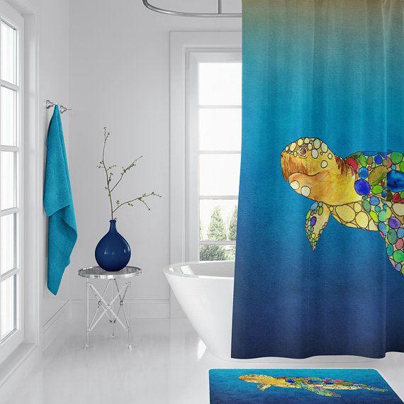 Sea Turtle Shower Curtain Watercolor Art Sea Turtle Surf