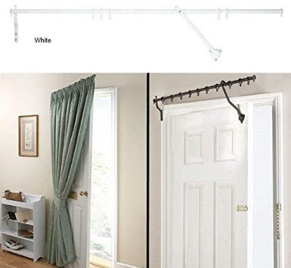 "Door Curtain Pole - WHITE RISING PORTIERE ROD 42"" (106cm) Long"