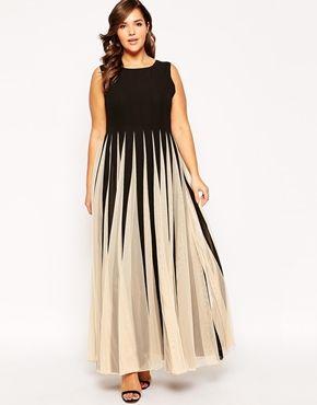 ASOS CURVE Maxi Dress in Stripe Mesh