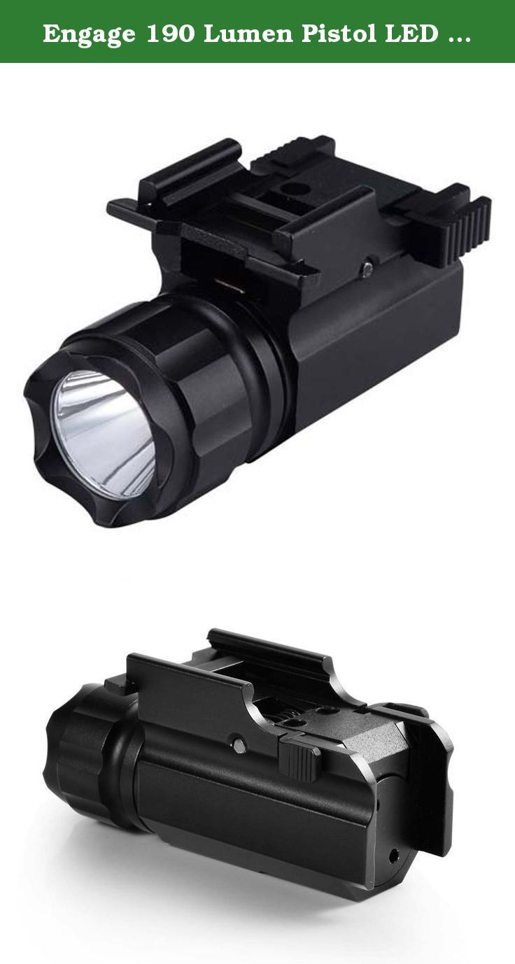 Engage 190 Lumen Pistol LED Strobe Flashlight with Weaver Quick Release, Tactical Torch Light for Hunting, Camping, Hiking. Light up your world with this high intensity weapon mounted flashlight. Know what is lurking in the darkness and confirm threats from friendlies. With 190 lumens of lighting capability you can view threats up to 300ft away! Push style lever activation means super-fast light activation and deactivation giving you the tactical advantage. This rugged light is built with...