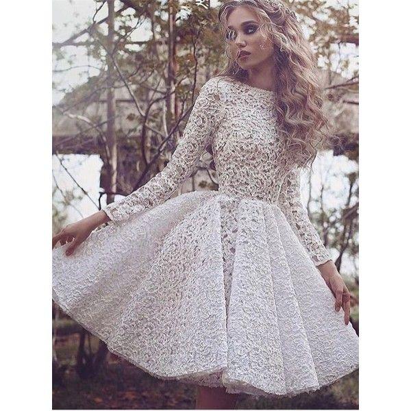 Long sleeve lace short white dress