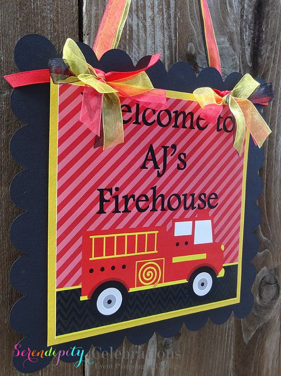 Personalized Door Sign -Fire Truck -Party Sign -Hanging Sign  -Baby Shower -Birthday -Firehouse Sign