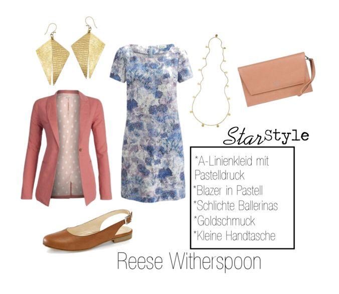 Star Style Reese Witherspoon / Preppy Outfit / Fair Fashion Kleidungsstücke (Kleid mit Muster/Print, rosa Blazer, Clutch, Kette, Ohrhänger, Ballerinas) Pastell