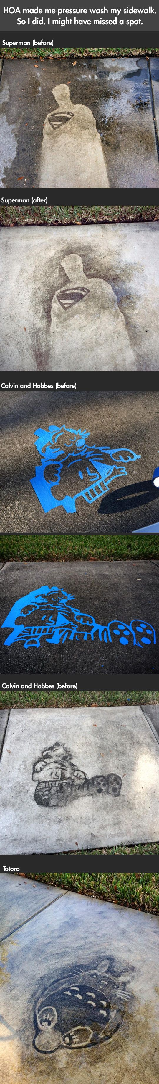 Comics drawn on a sidewalk with a pressure washer…