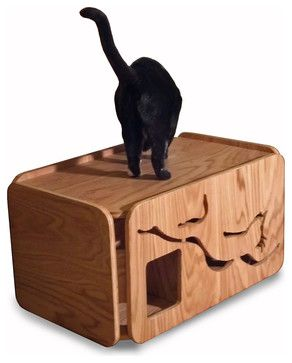 Litter Box Cabinet, Birch modern-pet-supplies