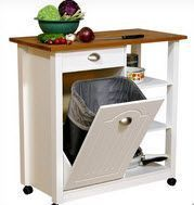 Small Kitchen Island with Wood Top, Closed Garbage Container Unit and Open Shelving
