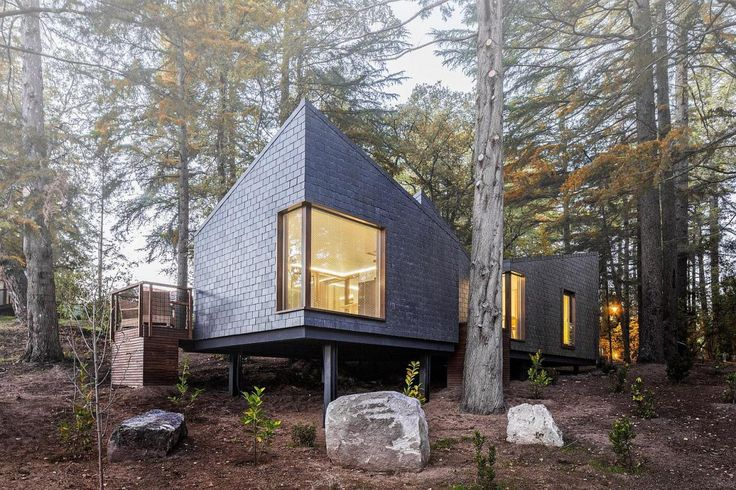This cluster of small cabins is located at a new resort, the Pedras Salgadas Spa and Nature Park, in northern Portugal. Pedras Salgadas is a spa town where people go to rejuvinate in its mineral wa…