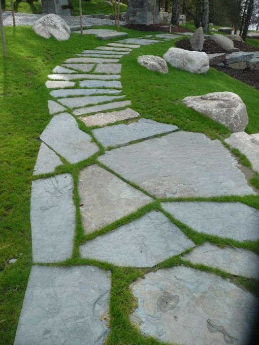 17 best images about landscaping on pinterest stepping for Stone path in grass