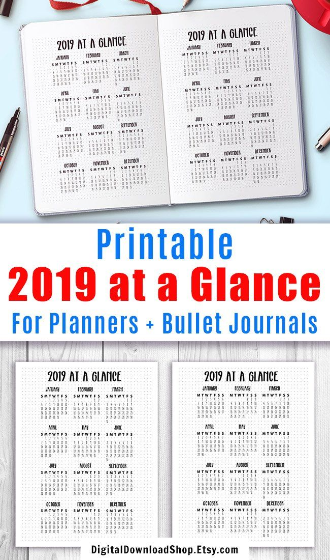 2019 Year at a Glance Printable Planner Girl - Planners