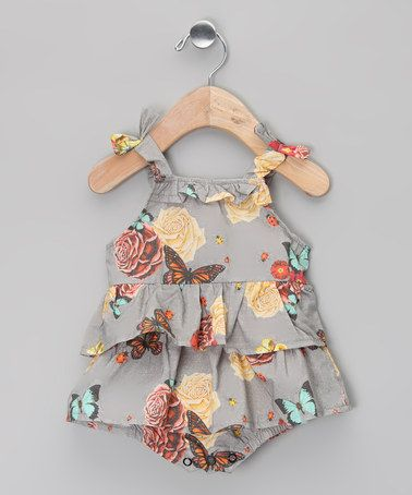 Gray Pansy Ruffle Organic Bubble Bodysuit - Infant by Oh Baby London on #zulily