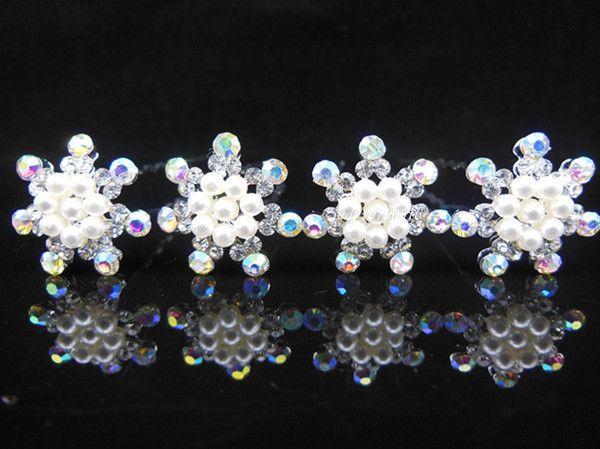 6pcs/lot flocon de cristal perles épingles à cheveux. Mode bijoux de cheveux. Nouvelle fête de mariage mariée