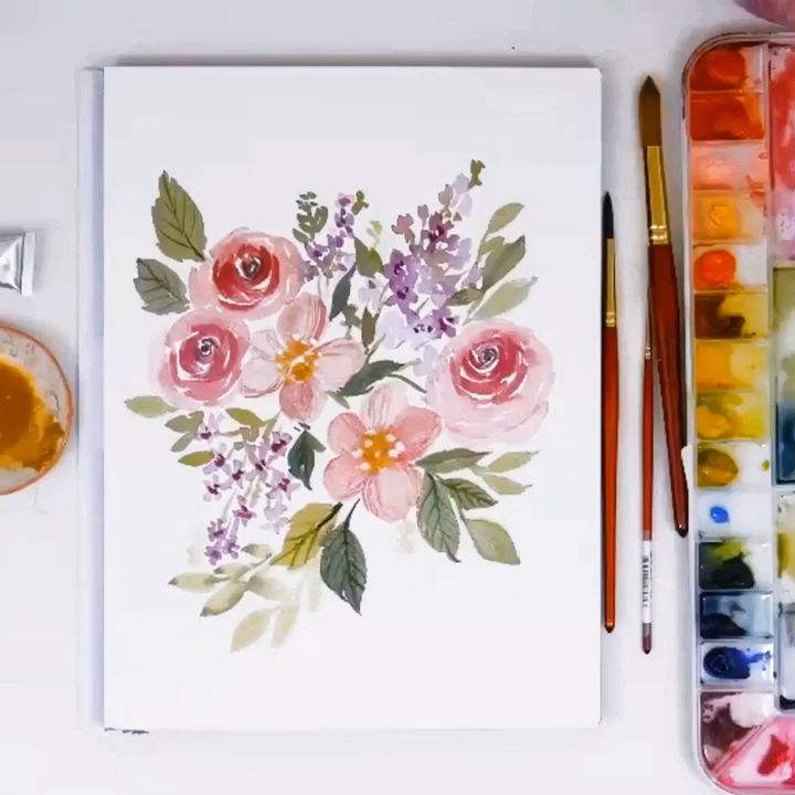 LIVE Loose Watercolor Spring Florals | Paint With Me – YouTube