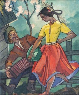 Zofia Stryjeńska obraz Zaloty